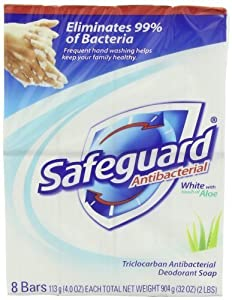 Safeguard Antibacterial Soap, White With Aloe 8-Count: Bath Size Bars (4 Oz) (Pack of 3)