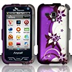 For Samsung Galaxy Rush M830 (Boost) Rubberized Design Cover - Purple/Silver Vines