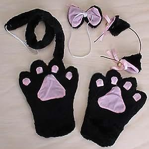 Amazon.com: Black Cute Cat Cosplay Neko Anime Fancy ...