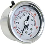 Turbosmart TS-0402-2023 0-100 PSI (0-7 Bar) 1/8 NPT Fitting Liquid Filled Fuel Pressure Regulator Gauge