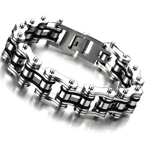 top-qualitat-herren-armband-edelstahl-fahrradkette-motorradkette-silber-schwarz-zwei-tone-hochglanz-