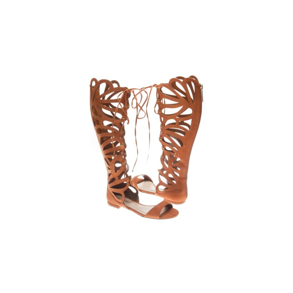 52c8498c389d Breckelles Womens SOLO05 Open Toe Lace Up Gladiator Butterfly Cut Out Mid  Calf Knee High Flat