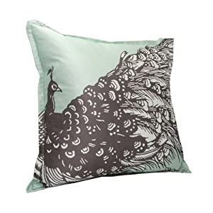 Peacock Throw Pillow - Silt Green & Iron