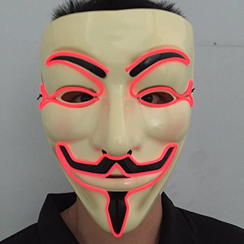 Wireless masquerades masks / guy fawkes mask / halloween mask / light up mask / fawkes mask / Dj mask / wireless mask with on and flash red by one size filled most face