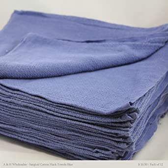 "Surgical Cotton Huck Towels Blue 15"" X 25"" - Pack of 12 Pcs"