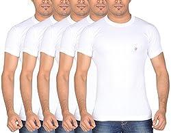 Dora Men's Cotton T-Shirts (Pack of 5, 1110_75, White, 75)