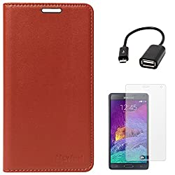 Lishen Premium Quality Leather Stand Flip Cover Case For Samsung Galaxy Note 4 N910 (Brown) + Matte Screen + USB OTG Cable