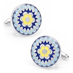 Blue Enamel Hibiscus Kaleidescope Cufflinks