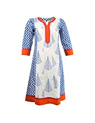 Pahal Women's Printed Cotton White And Blue Kurti