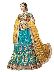 Manvaa Women's Net Lehenga Choli (MNVMB59011_Sky Blue And Yellow_42)