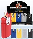 5stk. Feuerzeug '2in1 Color' mit 1x roter Sturmflamme + 1x...
