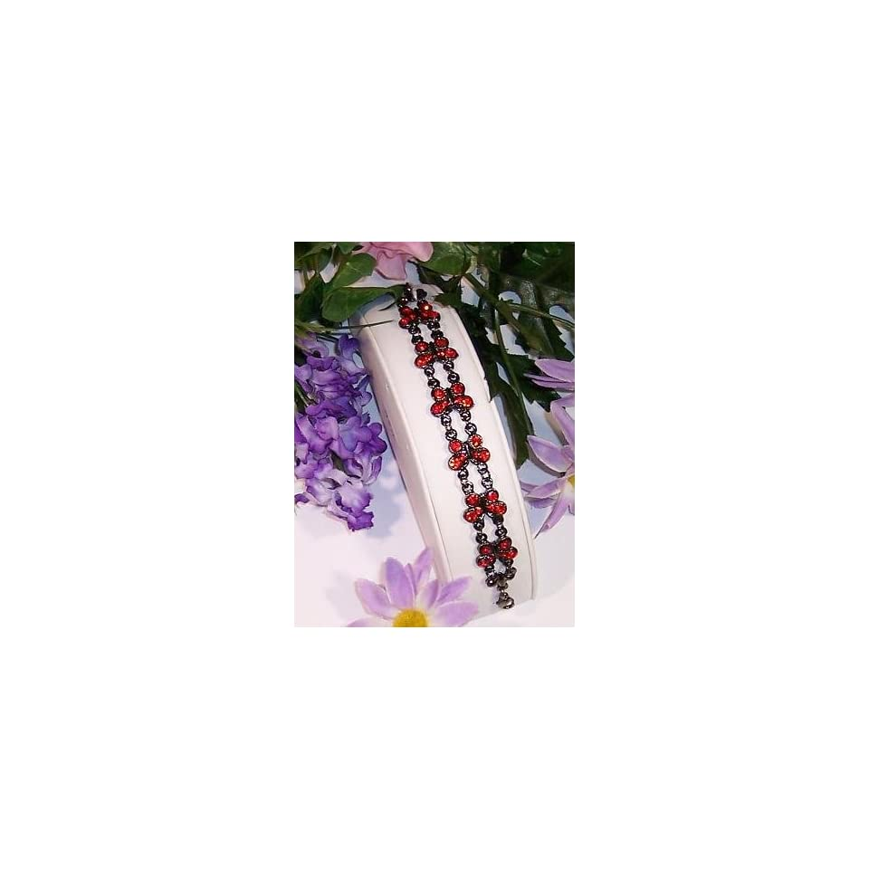 Black / Red Gothic Butterfly Austrian Crystal Bracelet.