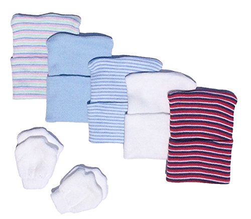 5 Piece Hospital Hat and Mitten Set for Newborns (Boy) (Newborn Cap compare prices)