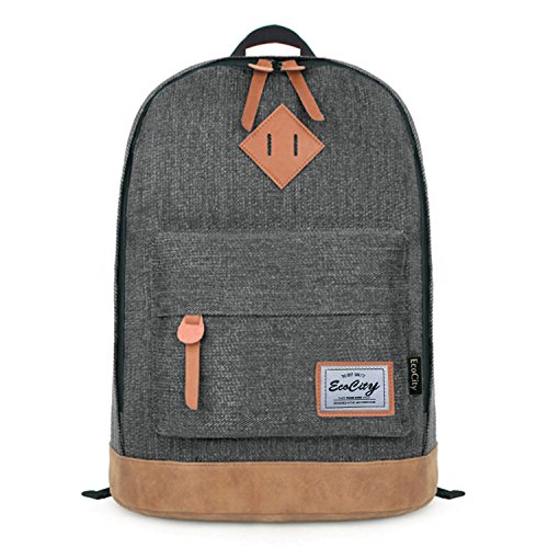 EcoCity Classic Vintage College School Laptop Backpack Bag Pack Super Cute for School (Black) image