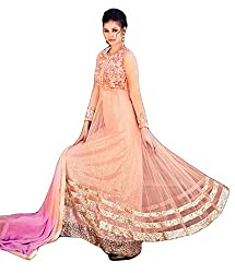 Justkartit Women's Lovely Semi-Stitched Light Pink & Purple Colour Anarkali Flair Style Dress Material / Authentic Sequence Embroidery With Naznin Dupatta (August 2016 Launch)