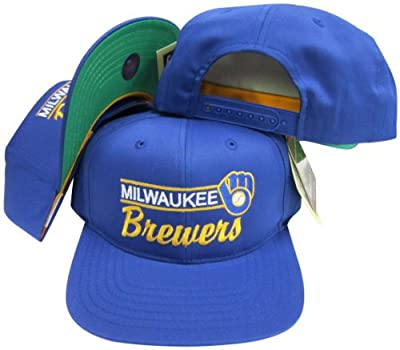 Milwaukee Brewers Royal Blue Snapback Adjustable Plastic Snap Back Hat / Cap