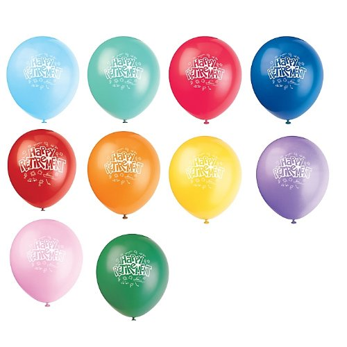 Happy Retirement Latex Balloons 6pk.