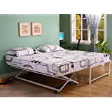Twin Size Steel Day Bed (Daybed) Frame with Pop Up Trundle & Mattresses