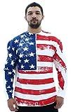 American Flag Crewneck Mens Fleece Pullover Sweatshirt