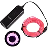 Onite® 16.4ft Pink Neon Glowing Strobing Electroluminescent EL Wire Light with Battery Pack Controller for Parties, Halloween, Automotive, Advertisement Decoration