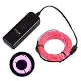 Onite 16.4ft Pink Neon Glowing Strobing Electroluminescent EL Wire Light with Battery Pack Controller for Parties, Halloween, Automotive, Advertisement Decoration