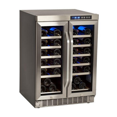Buy Bargain EdgeStar 36 Bottle Built-In Dual Zone French Door Wine Cooler - Black/Stainless Steel
