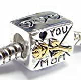 Queenberry Gold on Sterling Silver Love You Mom Mother Heart Rose Flower Letter Bead for Pandora Troll Biagi Chamilia European Charm Bracelets