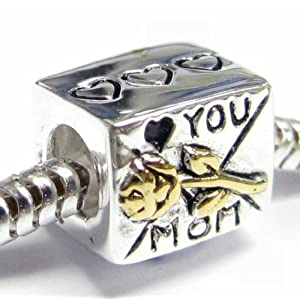 Queenberry (Free S/H) Gold on Sterling Silver Love You Mom Mother Heart Rose Flower Letter Bead for Pandora Troll Biagi Chamilia European Charm Bracelets