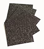 "Expressions Vinyl - Black - 9""x12"" 5-pack Siser Glitter Iron-on Heat Transfer Vinyl Sheets"