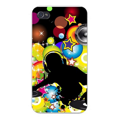 Apple Iphone Custom Case 4 4S White Plastic Snap On - Dj W/ Headphones & Turntables Silhouette Colorful Stars & Circles