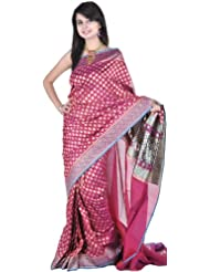 Exotic India Carmine-Purple Banarasi Sari With All-Over Woven Bootis An - Purple