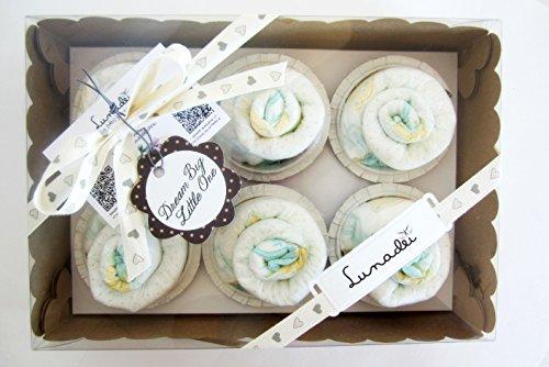 Scatola di Cupcakes fatti con Pannolini DODOT | Baby Shower Gift Idea | Scatola Regalo Personalizzabile | Idea Regalo Originale per Bebé | Versione Neutro, UNISEX