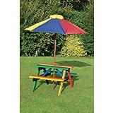 Kids Childrens Picnic Garden Parasol Umbrella Patio Table bench Chairs Set