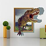 Sucis 3D Running Tyrannosaurus rex Dinosaur Unique Removable Mural Wall Stickers Wall Decal for Home Decor