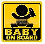 BABY ON BOARD 赤ちゃん 乗車中 ( 12cm マグネット ステッカー 食事中 )