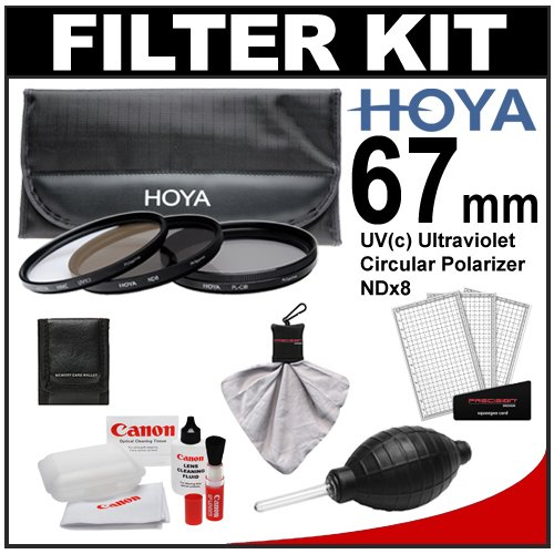 Hoya 67mm 3-Piece Digital Filter Set (HMC UV Ultraviolet, Circular Polarizer & ND8 Neutral Density) with Case + Canon Cleaning Kit for Canon EF 100mm f/2.8 L Macro IS, 70-200mm f/4 L IS, EF-S 17-85mm IS, 18-135mm IS, 70-300mm L IS Lens