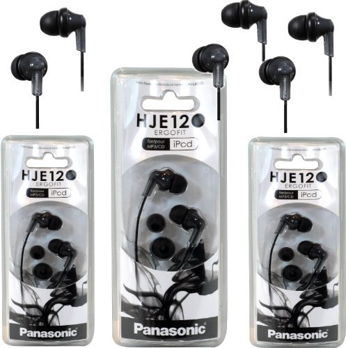 Panasonic Rp-Hje120 Ergofit In-Ear Headphones Stereo Earbuds (3-Pack, Black)