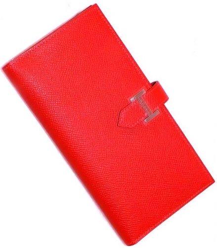 hermes rouge h epsom calfskin leather bearn gusset wallet