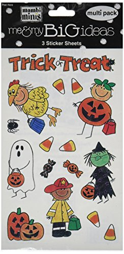 Me & My Big Ideas Mambi Minis Stickers 4-1/2 Inch by 6 Inch 3 Sheets/Package, Halloween Kids