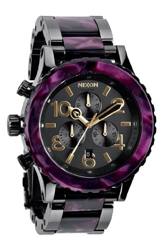 Nixon Men's 42-20 Chrono Analog Watch, Color: Gunmetal / Velvet