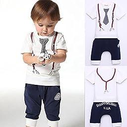 Itaar Cute Kids Boy Cotton Tie Belt Print Top T Shirt + Pants Baby Suit Outfits