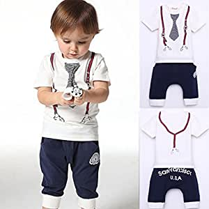 Cute Kids Boy Cotton Tie Belt Print Top T Shirt + Pants Baby Suit Outfits 1 Years