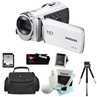 "Samsung HMX-F90 5MP 1280x720 30p HD Camcorder in White + 8GB Secure Digital Memory Card + Deluxe SLR Soft Photo & Video Medium Case w/ Shoulder Strap & 2 Dividers + Memory Card Wallet + 5 Piece Cleaning Kit + Vivitar 9"" Table Tripod Black + Micro Fiber Cl"