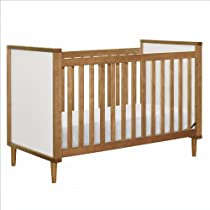 Hot Sale babyletto Skip 3-in-1 Convertible Crib with Toddler Rail, Chestnut and White