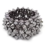 Rock Chick Hematite Tone Polished & Matt Plastic Spike Flex Bracelet - 18cm Length