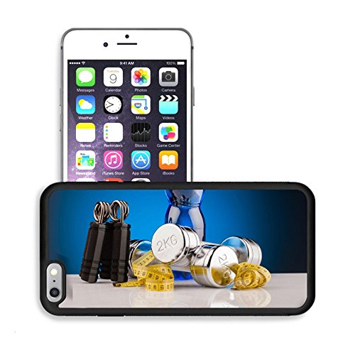 Luxlady Premium Apple iPhone 6 Plus iPhone 6S Plus Aluminum Backplate Bumper Snap Case IMAGE ID: 24830881 fitness dumbbells and bottle of water