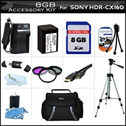 8GB Accessory Kit For Sony HDR-CX160 Handycam HD Camcorder Includes 8GB High Speed SD Memory Card + Replacement (2300Mah) NP-FV70 Battery + Ac / DC Charger + Deluxe Case + Tripod + 3PC Filter Kit (UV-CPL-FLD) + Mini HDMI Cable + USB 2.0 SD Reader + More
