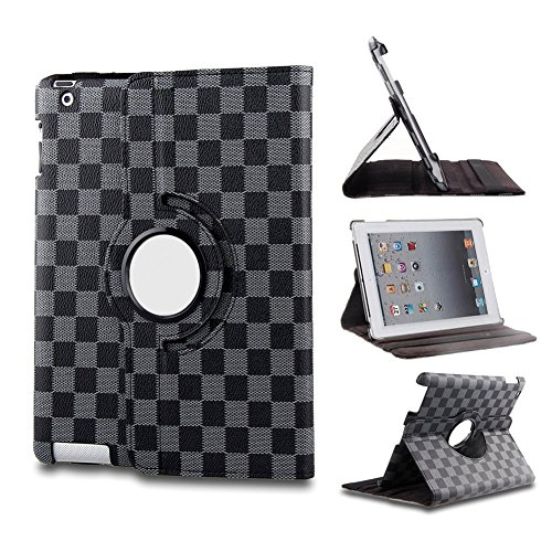 T&G Classical Auto Sleep/Wake Function 360 Degree Rotating Smart Muti-Angle Stand Case Cover For 9.7 Inch Ipad 2/3/4 With A Stylus As A Gift--Grid Pattern,Grey/Gray