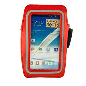Fulland Reflective SAFETY Strip Sports Gym Armband Case Cover For Samsung Galaxy Note 2 N7100 Note 3 N9000-RED