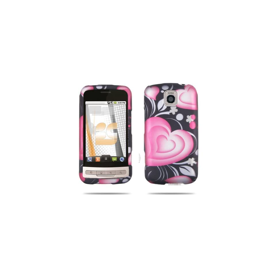 Premium   LG Optimus M MS690 3D Lovely Heart Rubber Design Protective Case (Carrier Metro PCS)   Faceplate   Case   Snap On   Perfect Fit Guaranteed